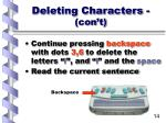 deleting characters con t