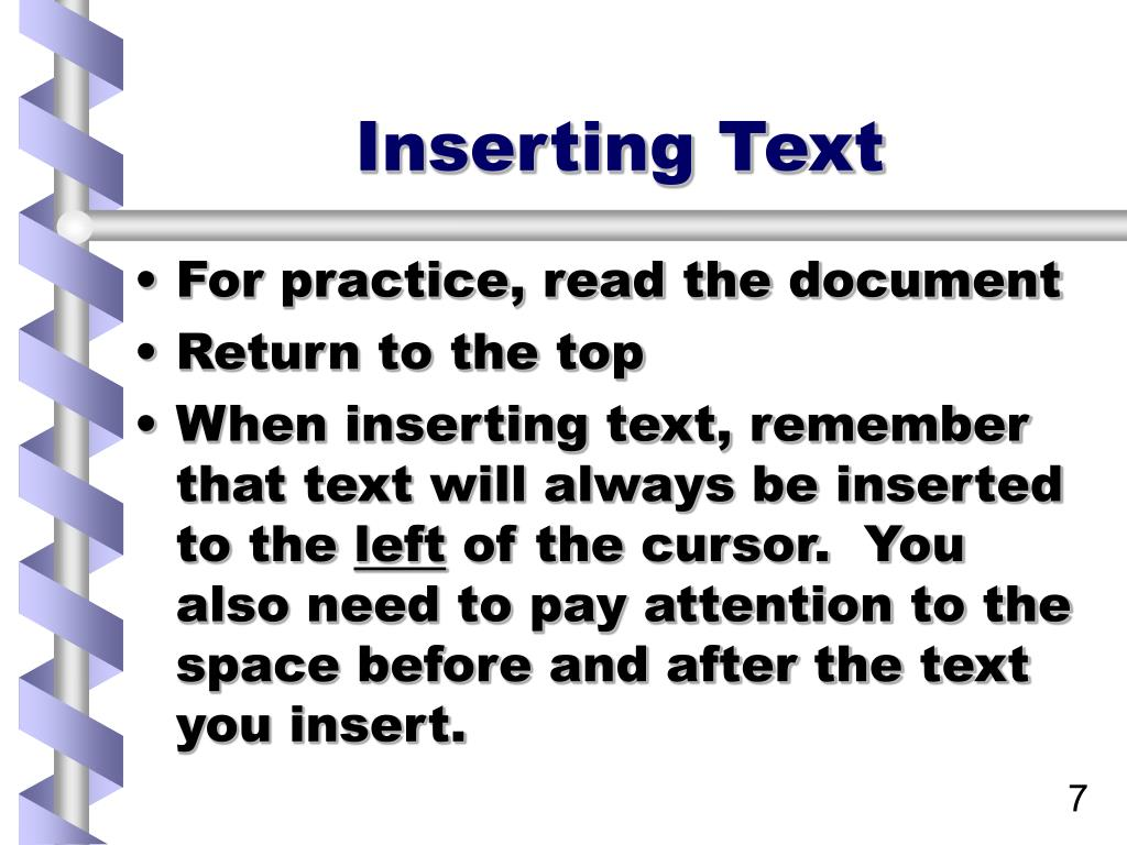 Inserting Text