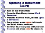 opening a document con t