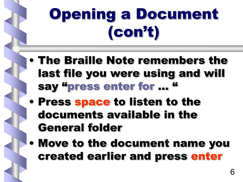 Opening a Document (con't)