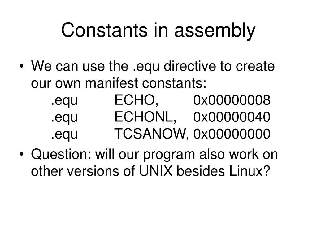 Constants in assembly