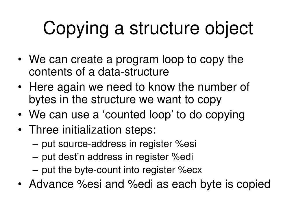Copying a structure object