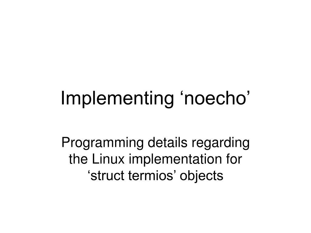 Implementing 'noecho'