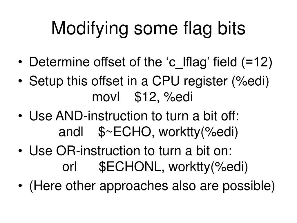 Modifying some flag bits