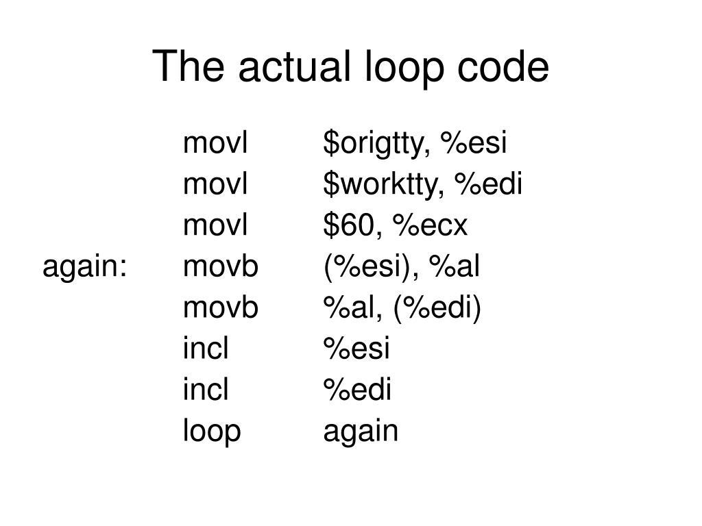 The actual loop code