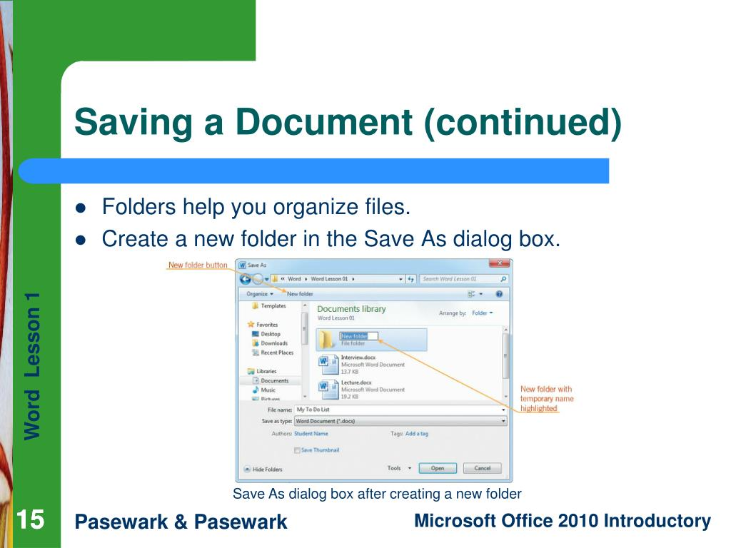 Saving a Document (continued)
