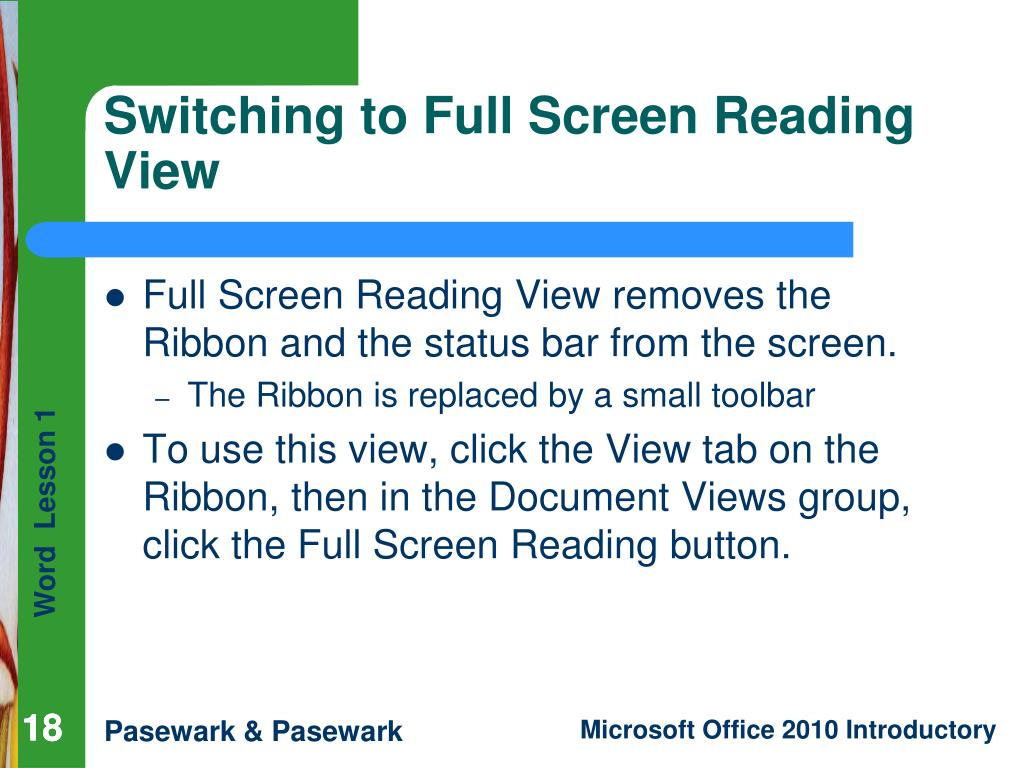 Switching to Full Screen Reading View