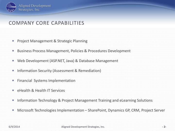 Company core capabilities