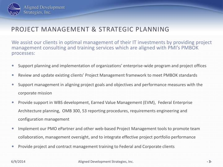 Project management strategic planning