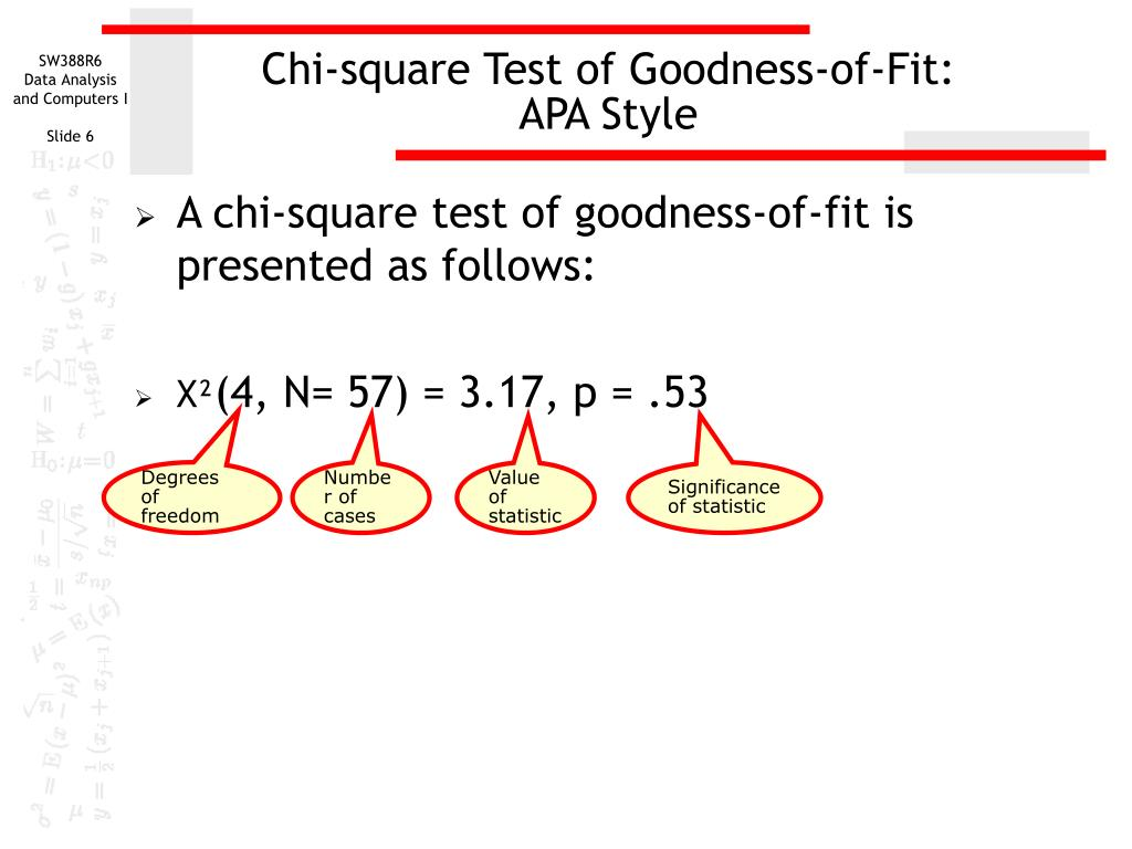 the chi square goodness of fit test The limiting distribution of the chi-square goodness-of-fit statistic tn under alternatives is noncentral chi-square if the alternative probabilities approach the null probabilities at an appropriate rate as n → ∞ it is shown that for fixed alternative probabilities, the limiting distribution of (tn − μ n )/σ n is standard normal both of.