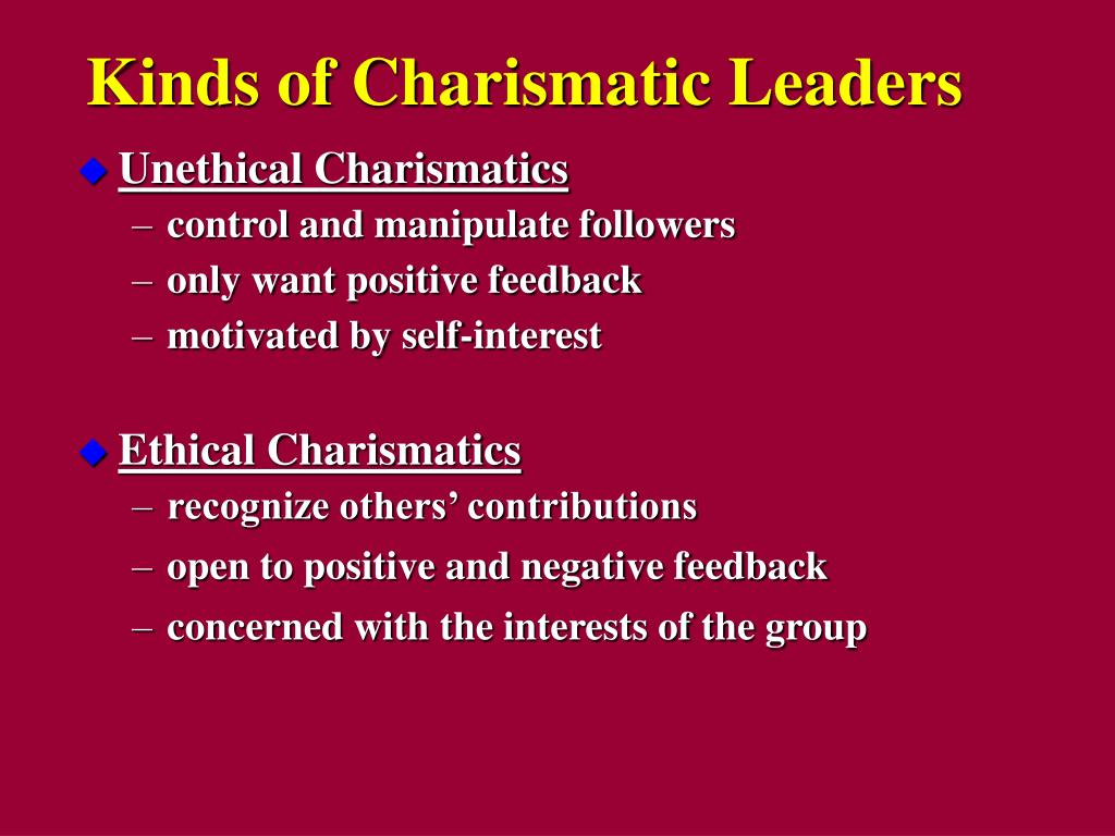 five types of charismatic leadership Bachelor of commerce programme organizational behaviour practice aspects of charismatic leadership by pursuing a 5 identify types and sources of power in.