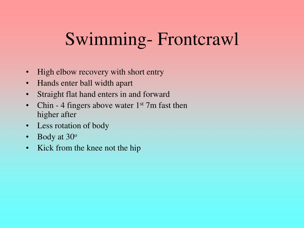 Swimming- Frontcrawl
