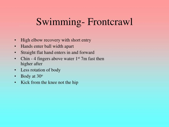 Swimming frontcrawl
