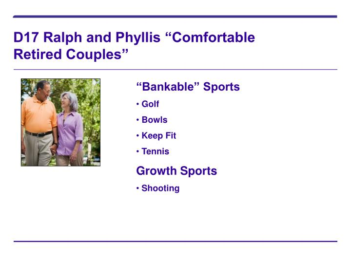 """D17 Ralph and Phyllis """"Comfortable Retired Couples"""""""