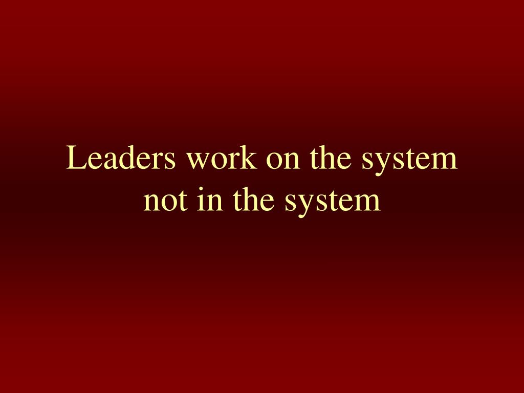 Leaders work on the system not in the system