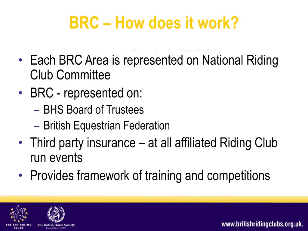 Each BRC Area is represented on National Riding Club Committee