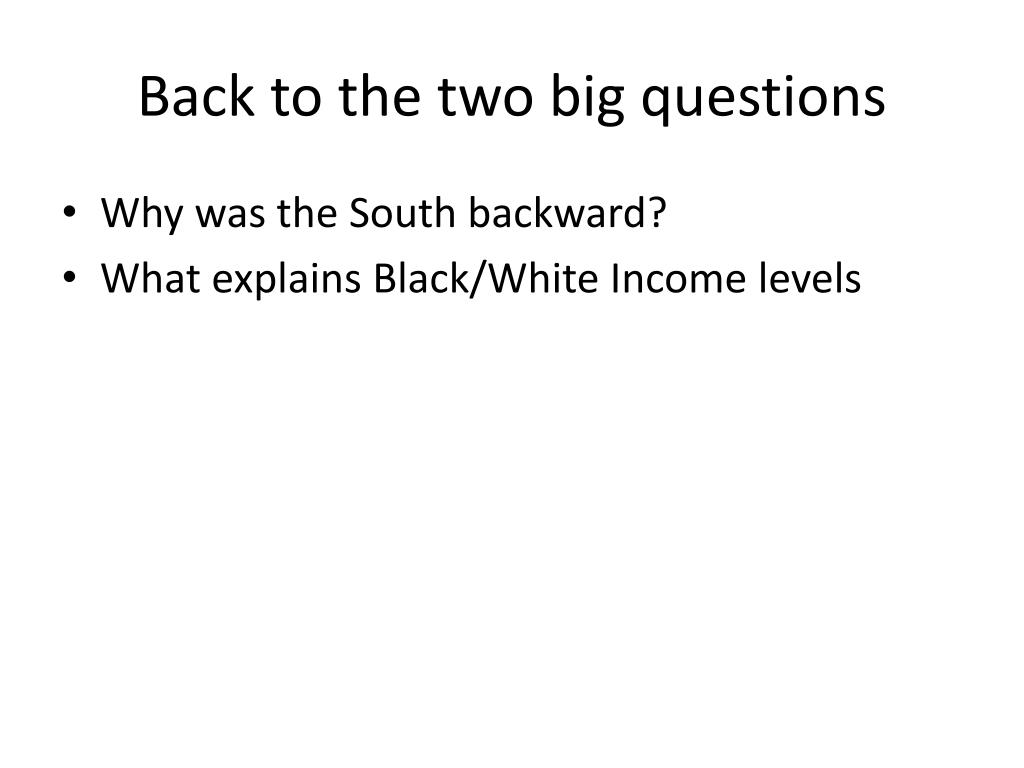 Back to the two big questions