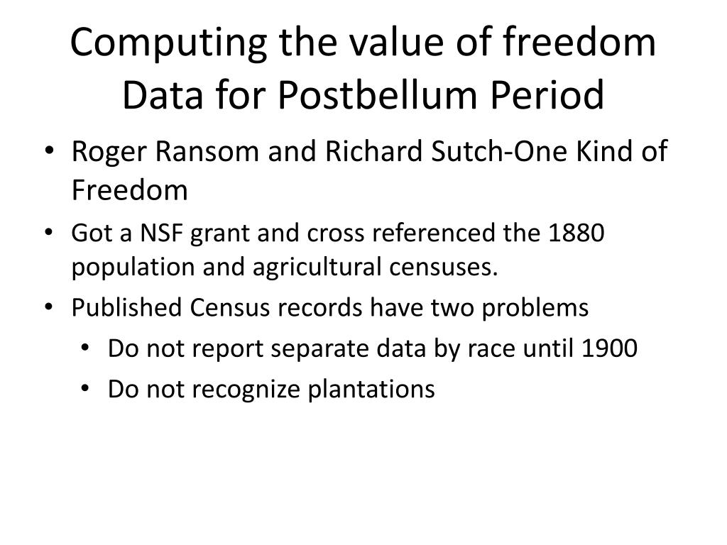 Computing the value of freedom