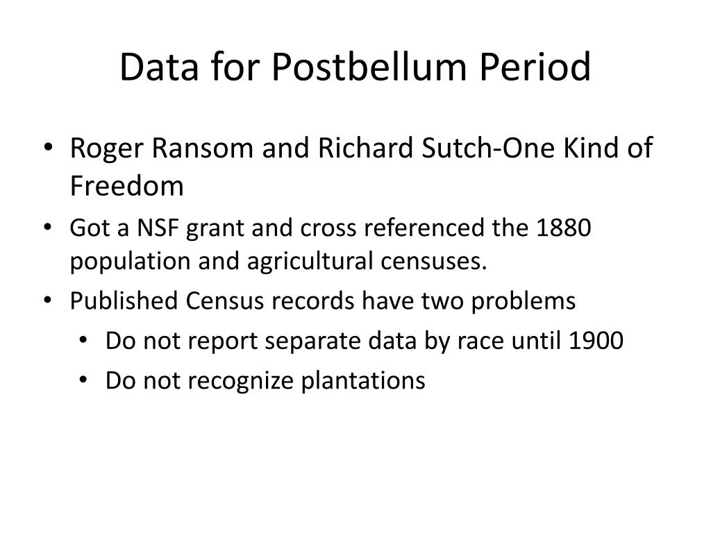 Data for Postbellum Period