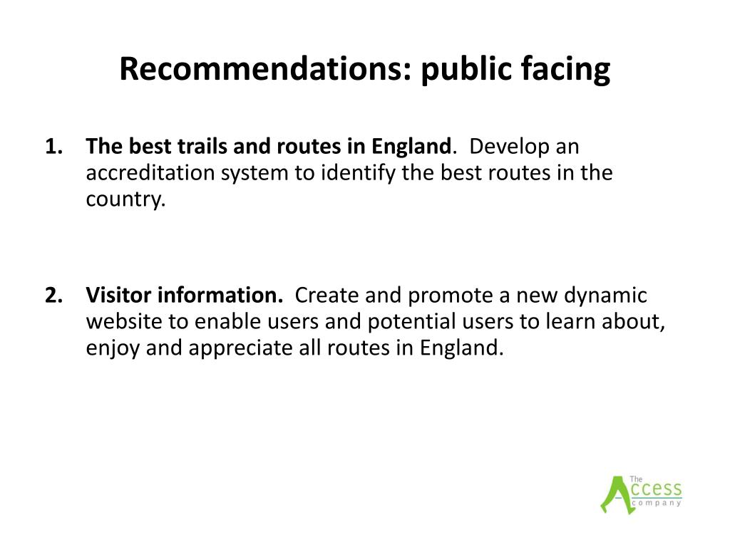 Recommendations: public facing