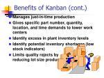 benefits of kanban cont