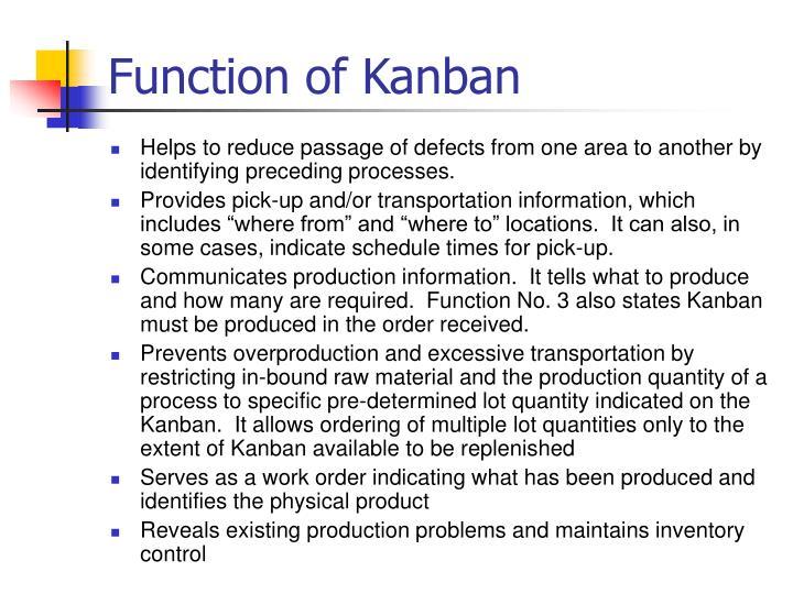 Function of Kanban