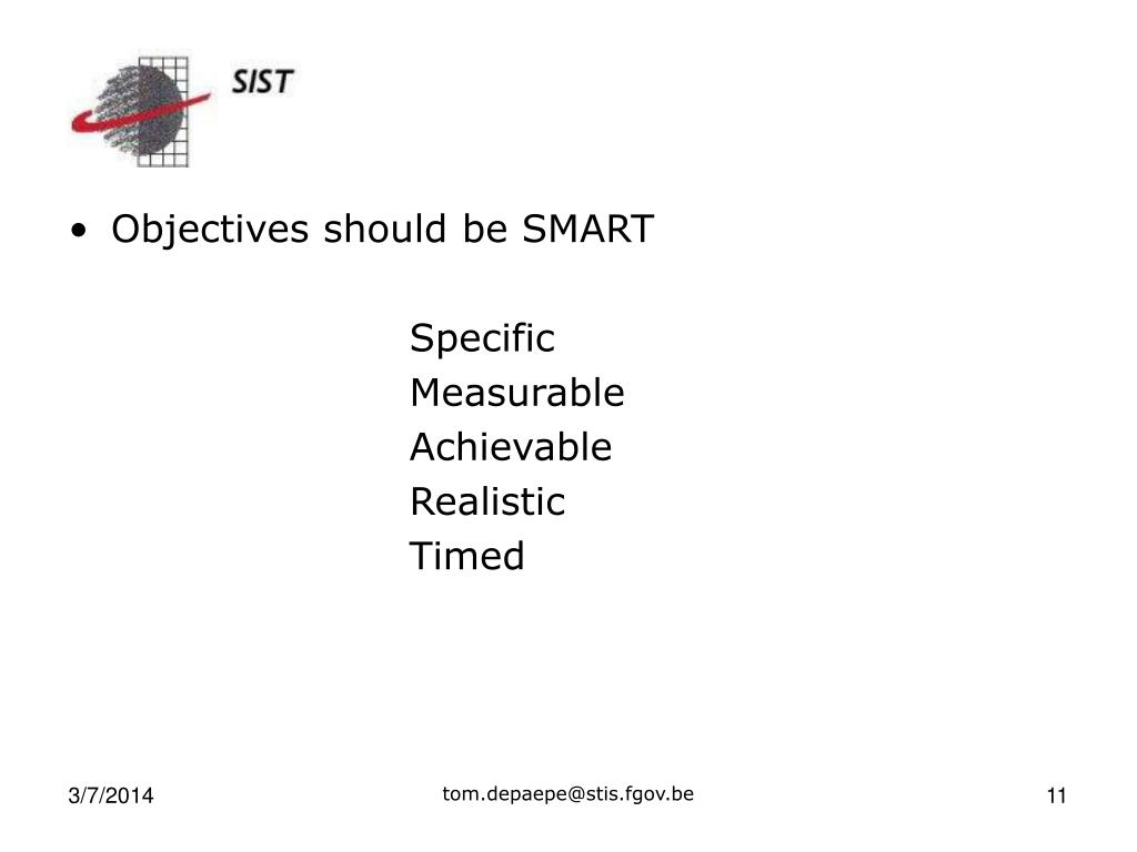 Objectives should be SMART
