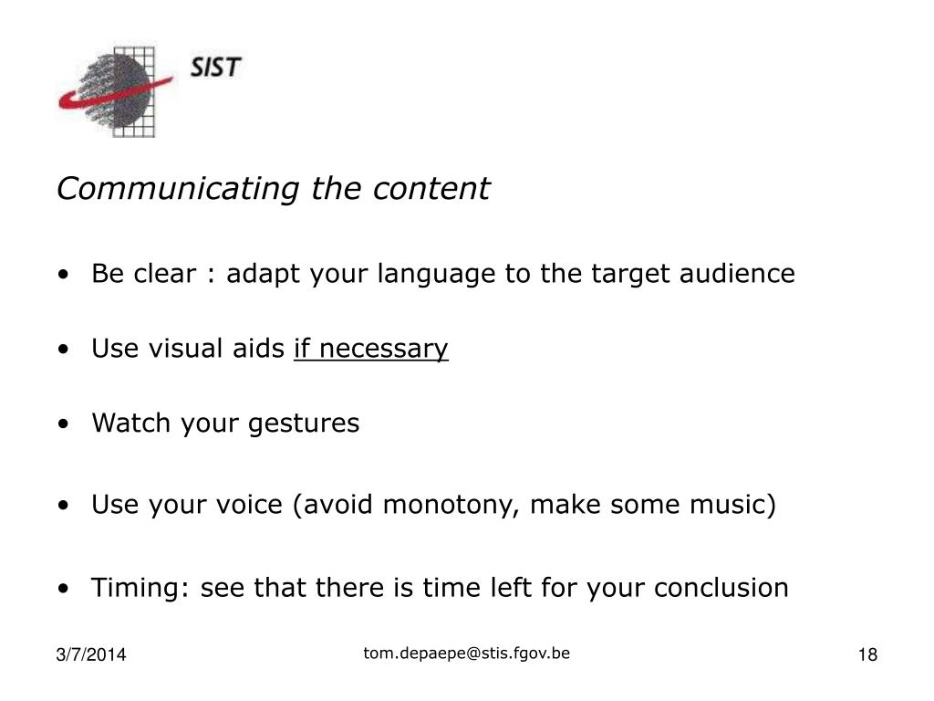 Communicating the content