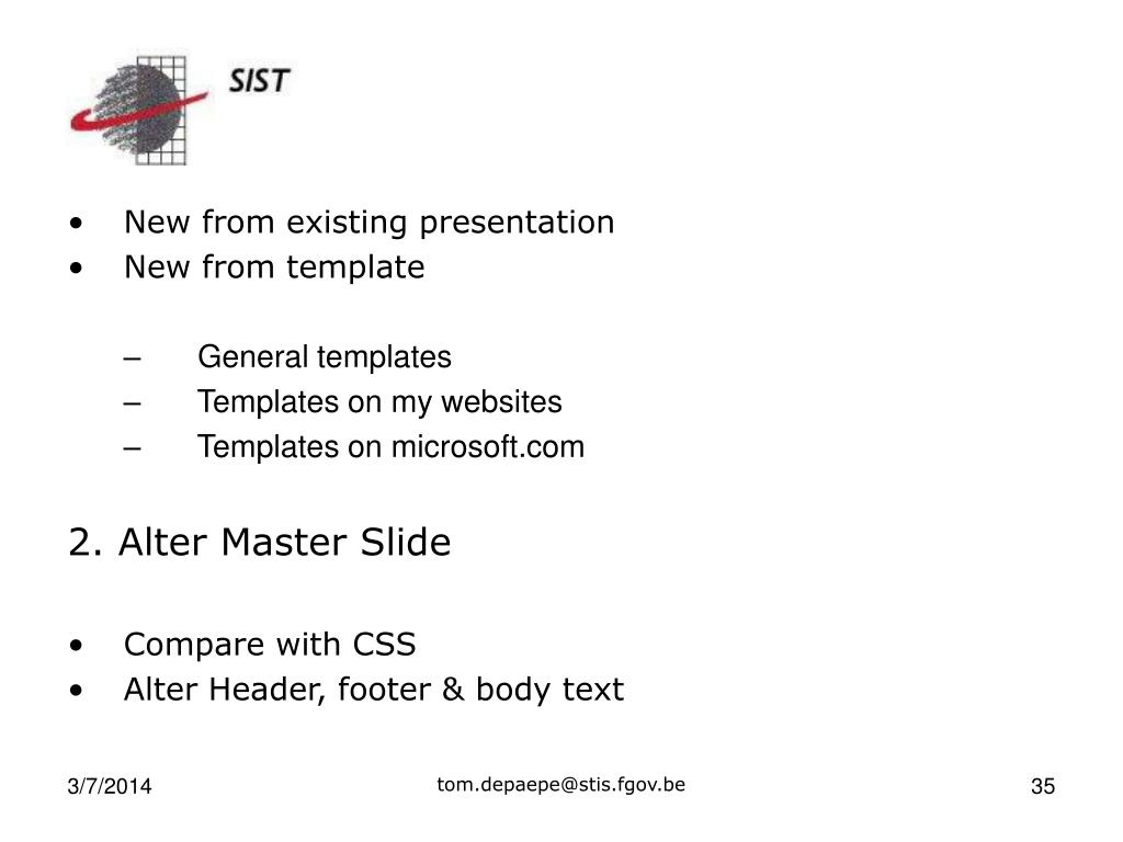 New from existing presentation