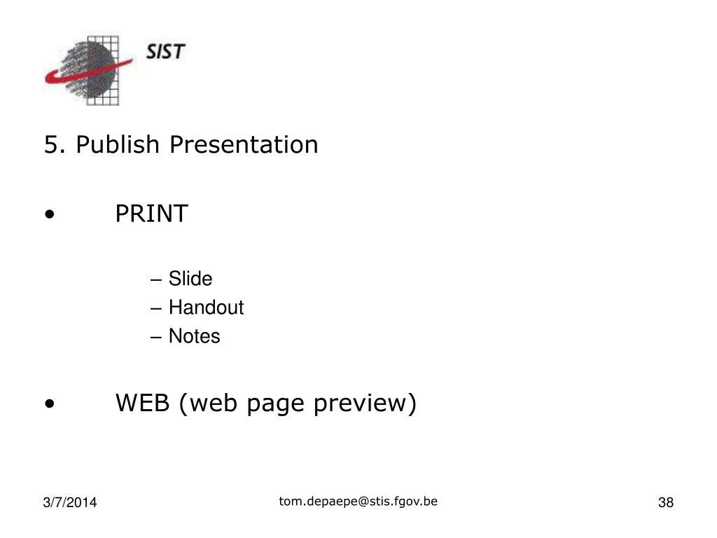 5. Publish Presentation