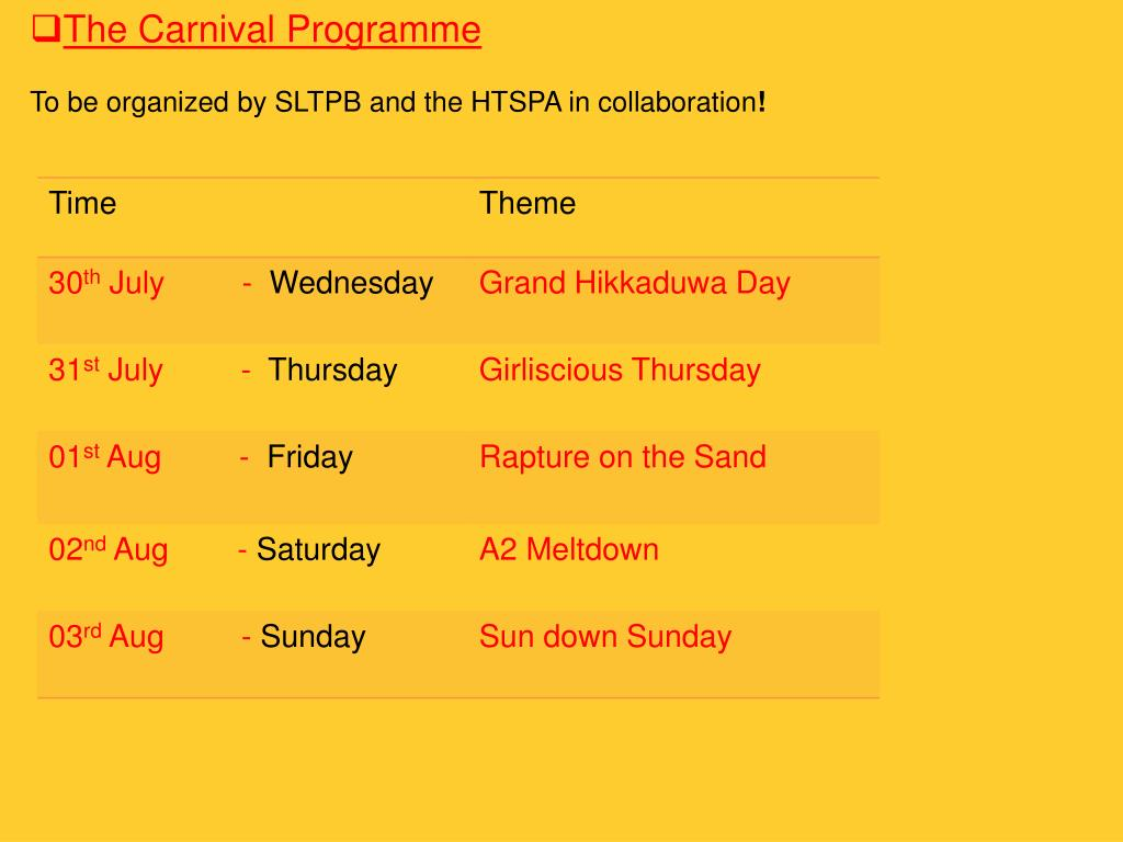 The Carnival Programme