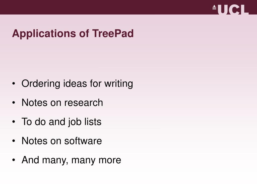 Applications of TreePad