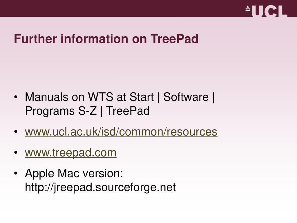 Further information on TreePad