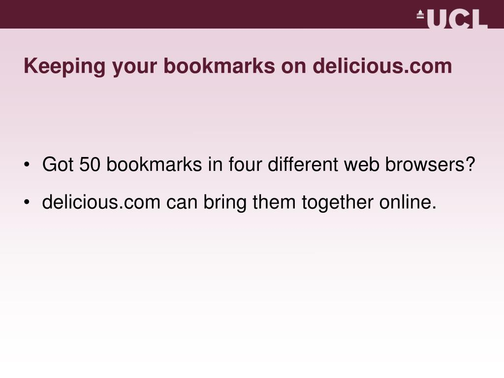 Keeping your bookmarks on delicious.com