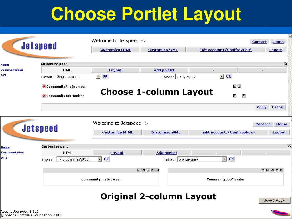Choose Portlet Layout