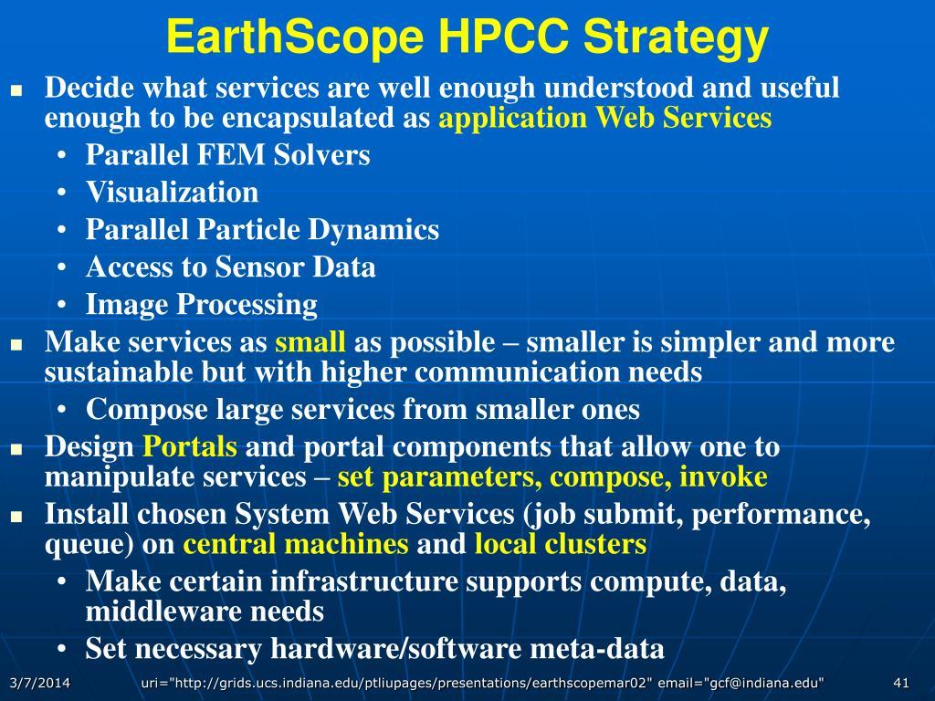 EarthScope HPCC Strategy