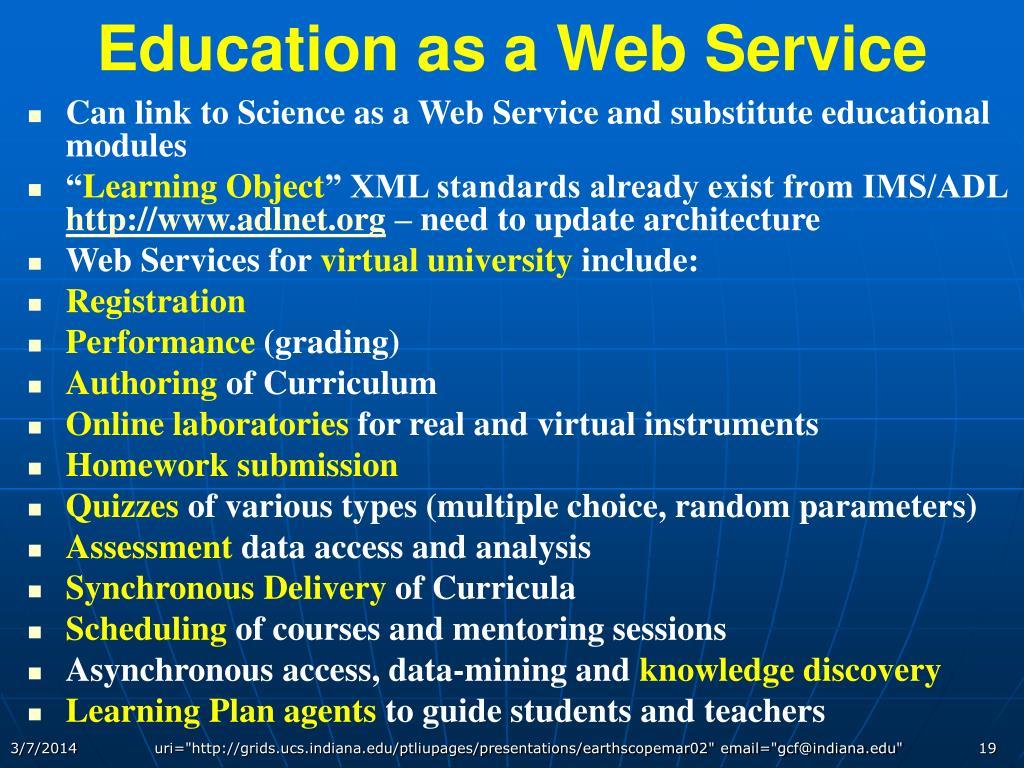 Education as a Web Service