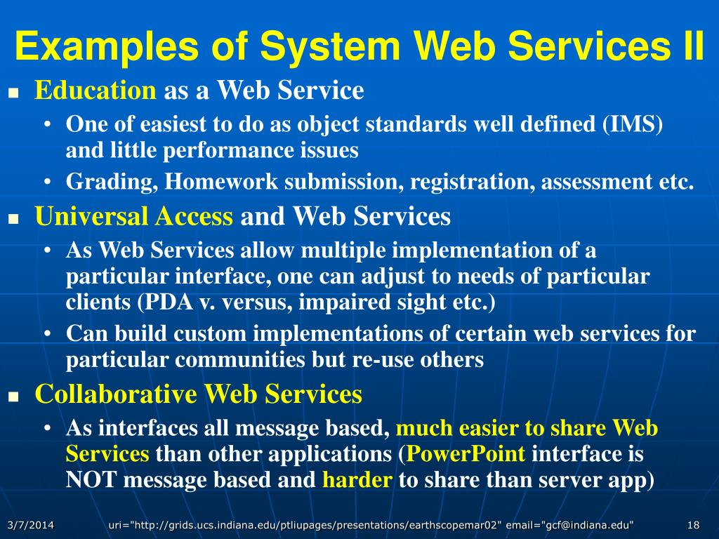 Examples of System Web Services II