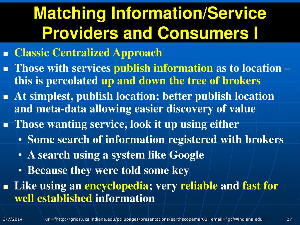 Matching Information/Service Providers and Consumers I
