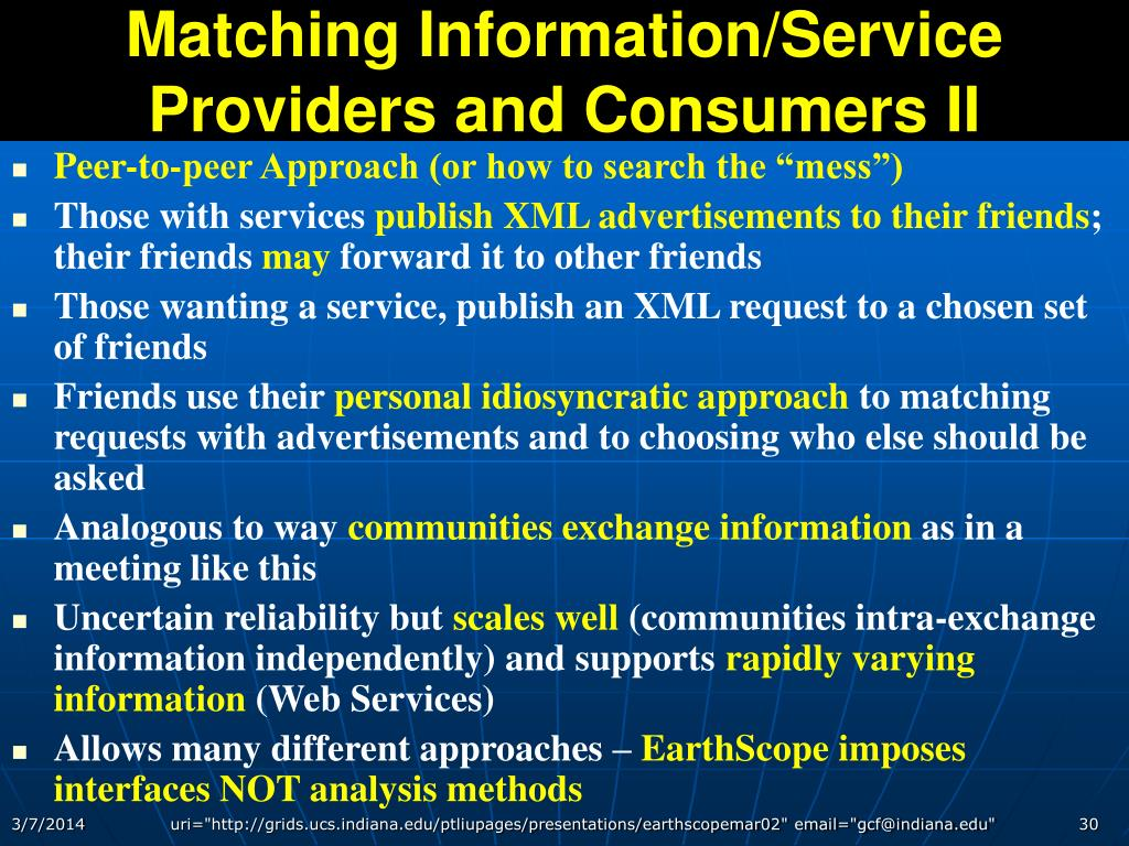 Matching Information/Service Providers and Consumers II