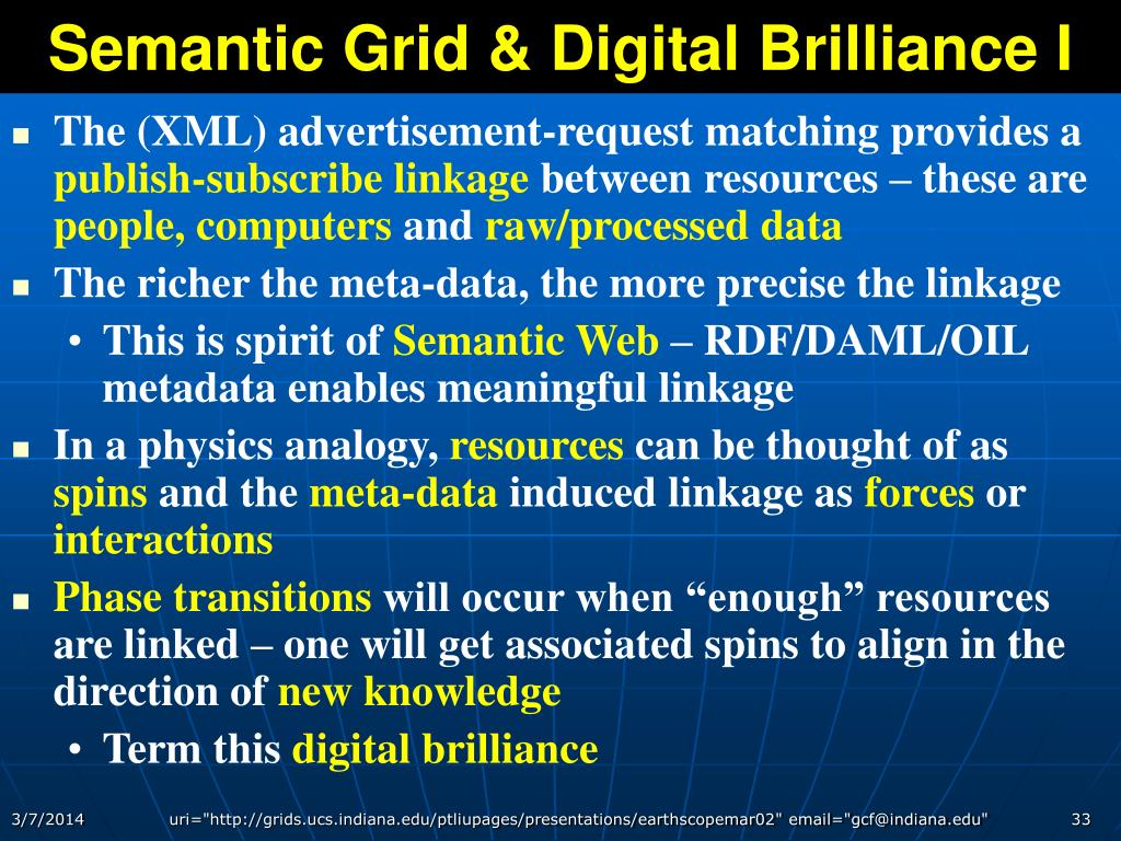 Semantic Grid & Digital Brilliance I