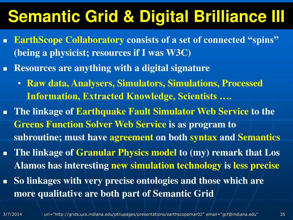 Semantic Grid & Digital Brilliance III