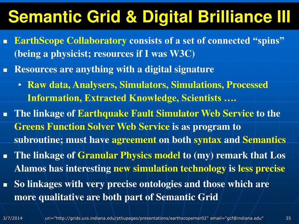 Semantic Grid & Digital Brilliance III