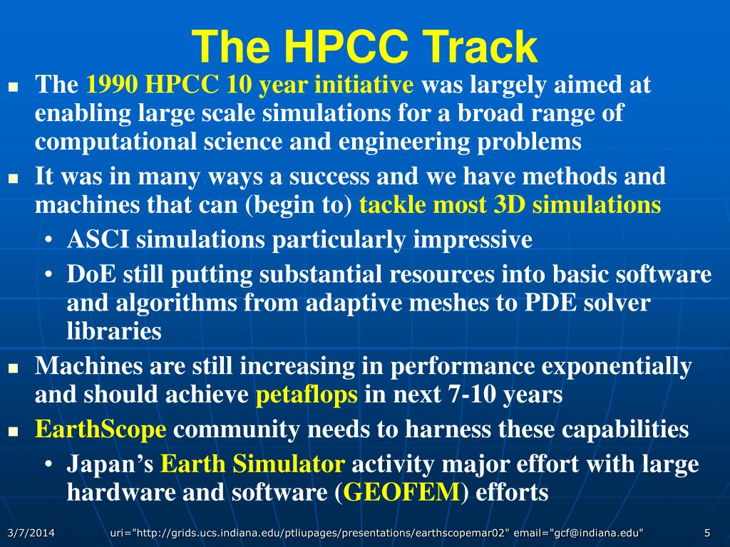 The HPCC Track