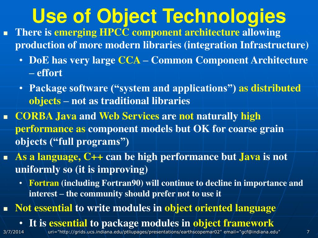 Use of Object Technologies