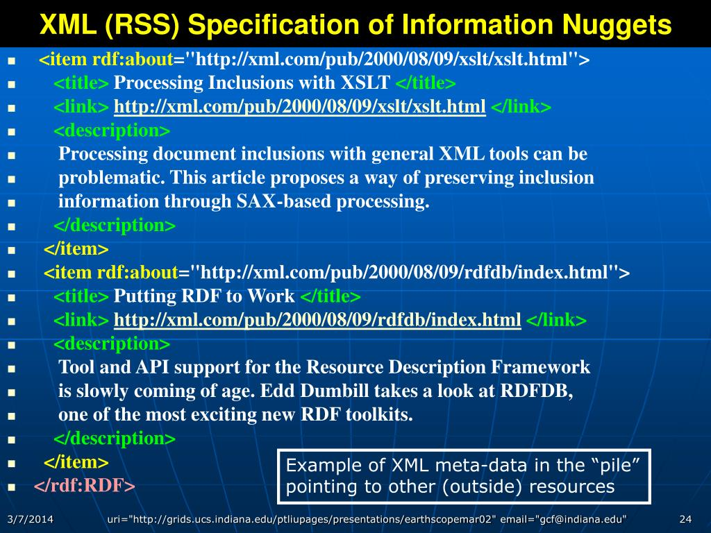 XML (RSS) Specification of Information Nuggets
