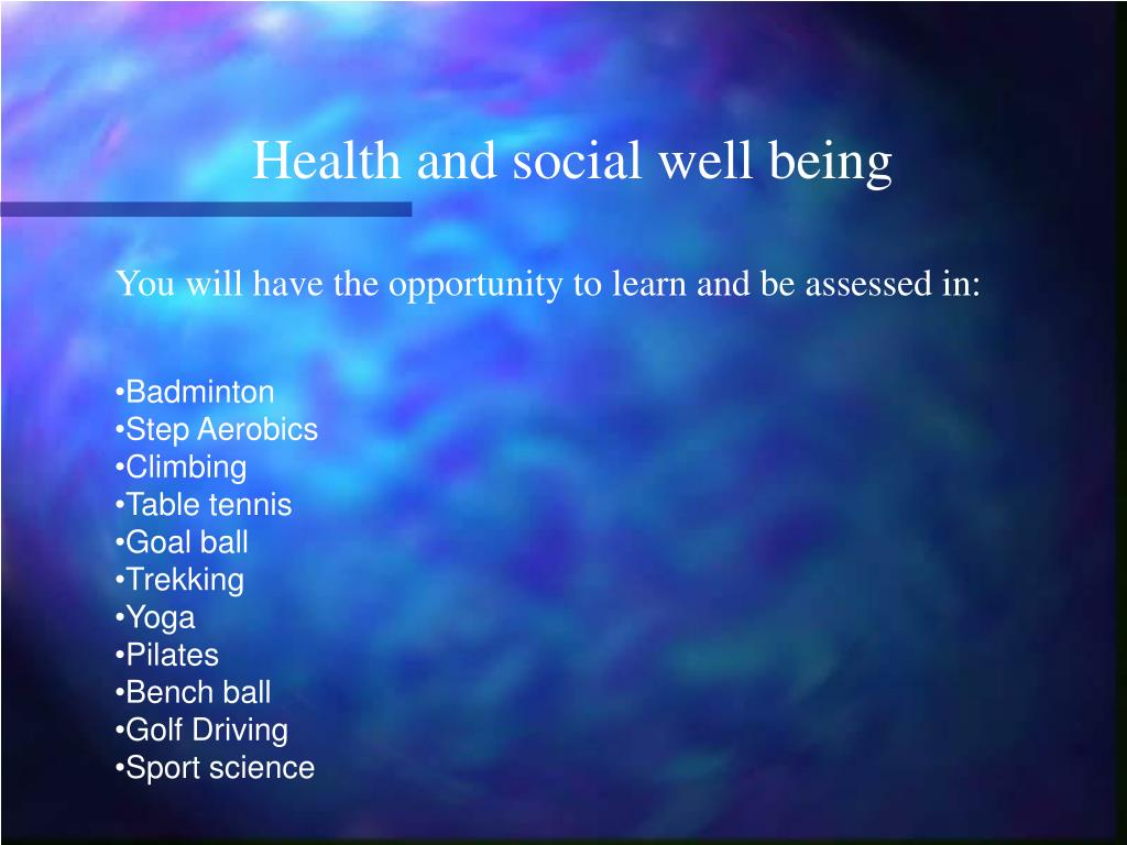 Health and social well being