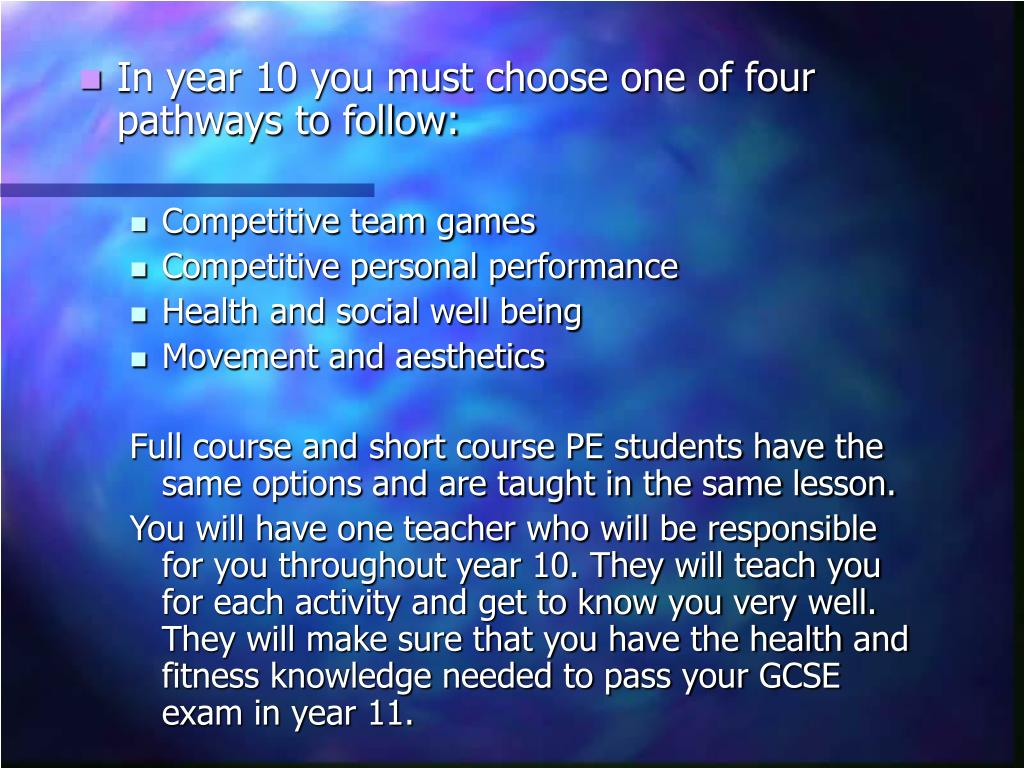 In year 10 you must choose one of four pathways to follow: