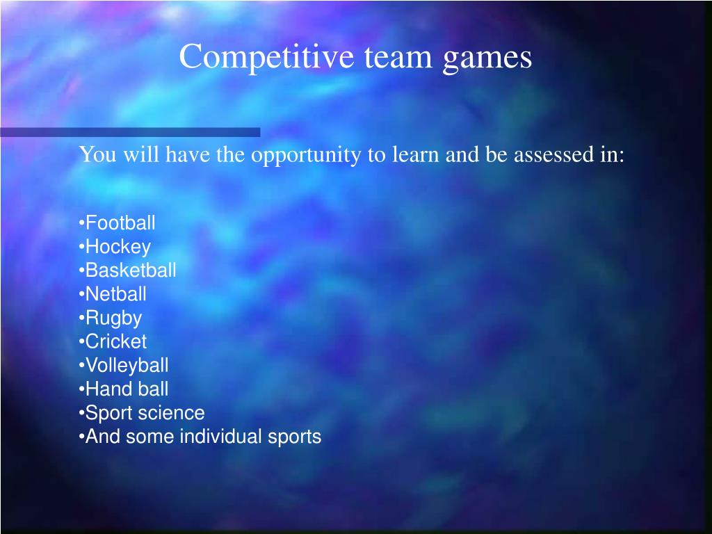 Competitive team games