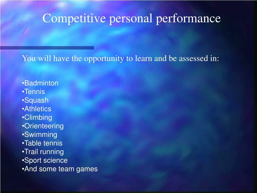 Competitive personal performance
